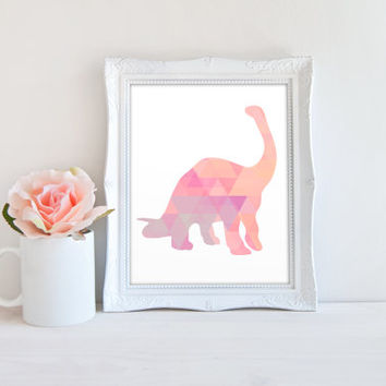 Brontosaurus Dinosaur Long Neck Geometric Polygon Art Printable Sign, Pastel Digital Wall Art Template, Instant Download, 8x10