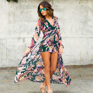 Long Sleeve Floral Printed V-neck Short Pant Long Jumpsuits New Design Women Autumn Winter Rompers Party Overall Plus Size XXXL