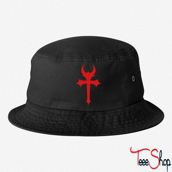devil gothic cross bucket hat