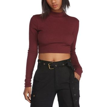 Burgundy Long Sleeve Waffle Crop Top