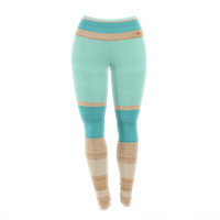 "KESS Original ""Spring Swatch - Blue Green"" Teal Wood Yoga Leggings"