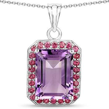 Sale  Natural 12.5CT Emerald Cut Millennial Pink Amethyst & Rhodolite Pendant Necklace