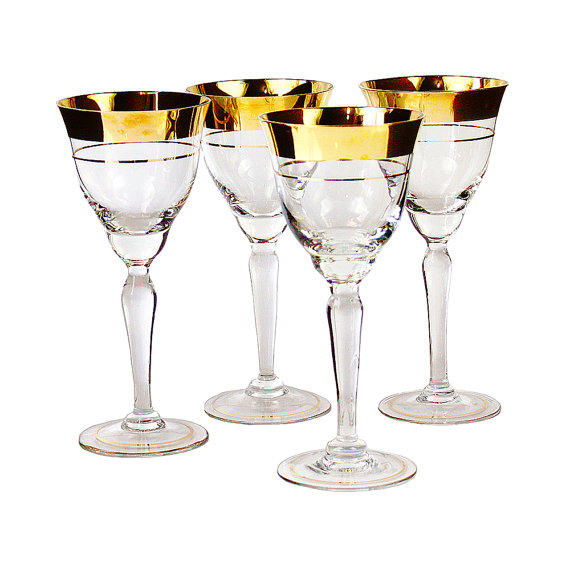 Czech Crystal Wine Glasses, Gold Rim From