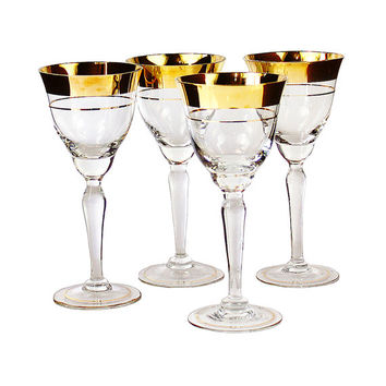 Czech Crystal Wine Glasses, Gold Rim