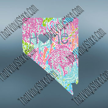 Nevada Heart Home Decal | I Love Nevada Decal | Homestate Decals | Love Sticker | Preppy State Sticker | Preppy State | 068