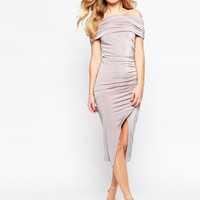 ASOS Bardot Slinky Drape Midi Dress