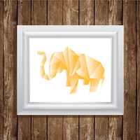 Elephant Origami Illustration 8x10 Art Print, Digital Print, Home Decor, Wall Art, Instant Download, Printable Art