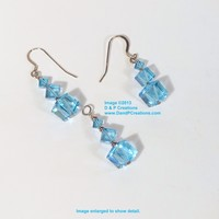 Swarovski Aquamarine Blue Crystal AB Dice Sterling Silver Earrings Pendant