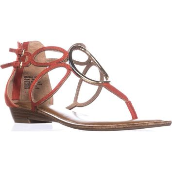 Zigi Soho Markah Strappy Metal Embellished Flat Sandals, Coral, 8.5 US