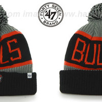 Bulls THE-CALGARY Black-Grey-Orange Knit Beanie Hat by Twins 47 B