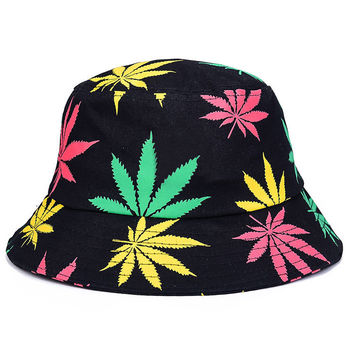 Weed Leaf Adult Unisex Black Yellow Pink & Green Casual Summer Beach Flat Bucket Hat