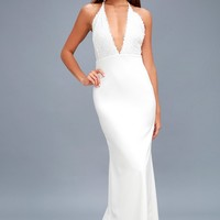 Prima Donna Life White Lace Backless Maxi Dress