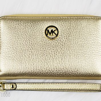 New Michael Kors FULTON Gold Metallic Leather Clutch Phone Case Wristlet $138