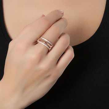 meridian ring - unique gift - pave ring - christmas gift - fashion ring - adjustable ring