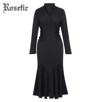 Vintage Dress Black Mermaid Mandarin Collar Button Dress Fishtail Party Gothics Retro Trumpet Dresses