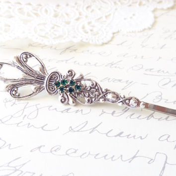 Victorian Silver Emerald Hair Pin - Green Rhinestone Silver Bobby Pin - Wedding Hair Accessory - Bridal