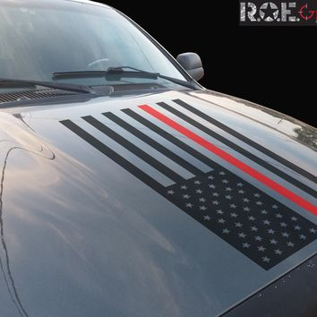 Thin Red Line American Flag hood vinyl decal firefighter fits: Dodge Ram Chevy Ford Toyota Nissan