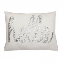 Hello Sequin Script Pillow