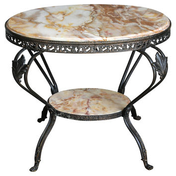 Antique Accent Table w/ Marble Tiers