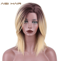 Straight Synthetic Ombre Blonde Color Wig