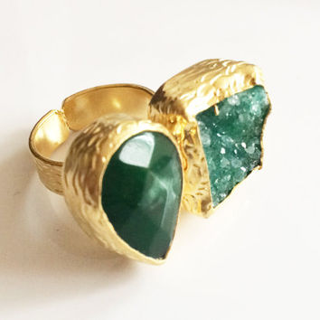 Rare Green Druzy Ring,Green jade ring,Turkish jewelry,Adjustable,18K Gold plated,Statement ring,Buddha ring,Geode Jewelry,Double ring AHAAVI