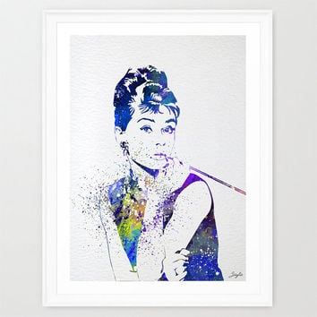 Audrey Hepburn Art Print Watercolor illustrations Art Print,Giclee Wall Decor Art Wedding Gift idea, Home Decor Wall Hanging, #237