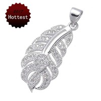 Statement Boho Jewelry Women's Fashion Copper Cubic Zirconia Rhinestone Silver Feather necklaces & pendants Best Friend Gift