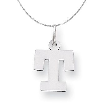 Silver, Amanda Collection Small Block Style Initial T Necklace
