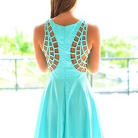 Aqua Sleeveless Dress with Cutout Strappy Back Detail