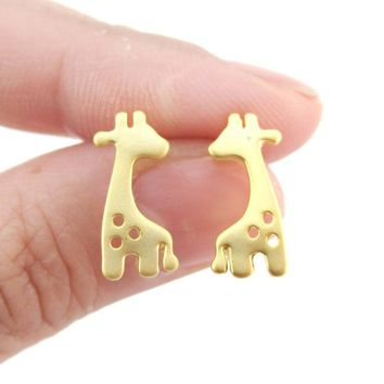 Baby Spotted Giraffe Silhouette Animal Shaped Stud Earrings in Gold | Allergy Free