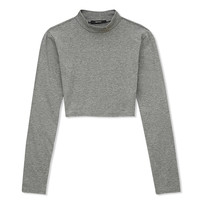 Mock Turtleneck Crop Top