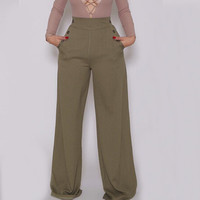 High Waist Button Pocket Detail  Loose Pants