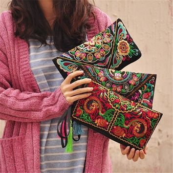 New Women Bag Handbag Wallet Purse National Retro Embroidered Phone Change Coin With Tassel