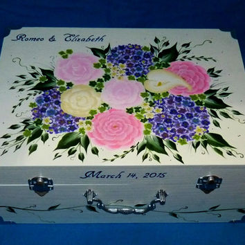 Romantic Wedding Suitcase Card Box Wedding Keepsake Envelope Trunk Large Reception Gift Card Box Custom Wooden Memory Box Personalized