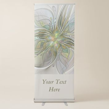 Floral Fantasy Modern Fractal Flower And Gold Text Retractable Banner