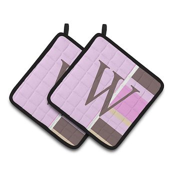 Letter W Initial Monogram - Pink Stripes Pair of Pot Holders