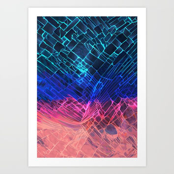 Rainbow neon light Cracked out Glass pattern iPhone, ipod, ipad, pillow case and tshirt Art Print by Three Second