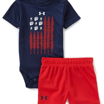 Under Armour Baby Boys Newborn-12 Months Short-Sleeve Americana Flag Bodysuit & Shorts Set | Dillards