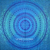 Large Blue Ombre Mandala Net Circle Tapestry, Tie Dye Bedding - RoyalFurnish.com