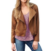 MapleClan Casual Blazer Zipper Lapel Suits with Fringed for Women Brown
