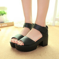 New summer style Women's plus size Shoes Sandals Fish head high heels Solid Sandals Women platforms shoes for lady BAOK-3524