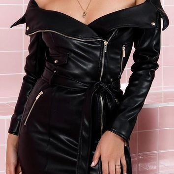 New Black Zipper Irregular Bodycon Off Shoulder Long Sleeve Clubwear Casual Fashion PU Leather Mini Dress