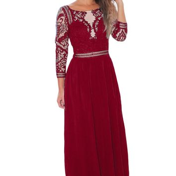 Chicloth Burgundy Lace Crochet Quarter Sleeve Maxi Dress