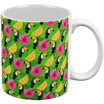Tropical Vacation Tucan Pattern All Over Coffee Mug