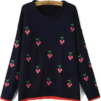 Navy Blue Cherry Embroidered Knitted Sweater