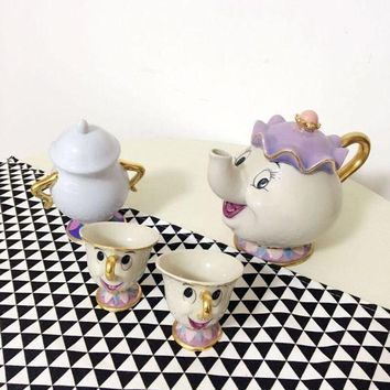 CREYLD1 Old style Classical Cartoon Beauty And The Beast Mrs Potts 18K Goldplated Mug Coffeware Sets with full choise fast shipping