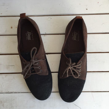 Vintage 90's Bass Suede Lace Ups / Black & Brown Oxford Sneakers 7 M