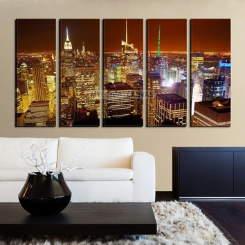 LArge Wall Art NEW YORK Canvas Prints - New York City Skyline with Red Sky at Dusk
