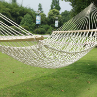 White Woven Rope Outdoor Hammock Chair with Spreader Bar [HA0008]