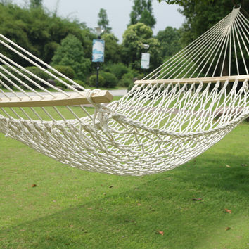 Furnistars White Woven Rope Outdoor Hammock Chair with Spreader Bar